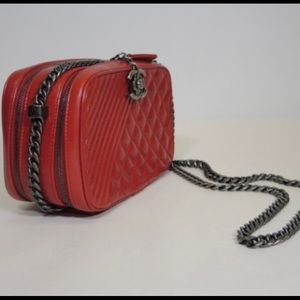 CHANEL Bags - CHANEL Red Boy Camera Bag